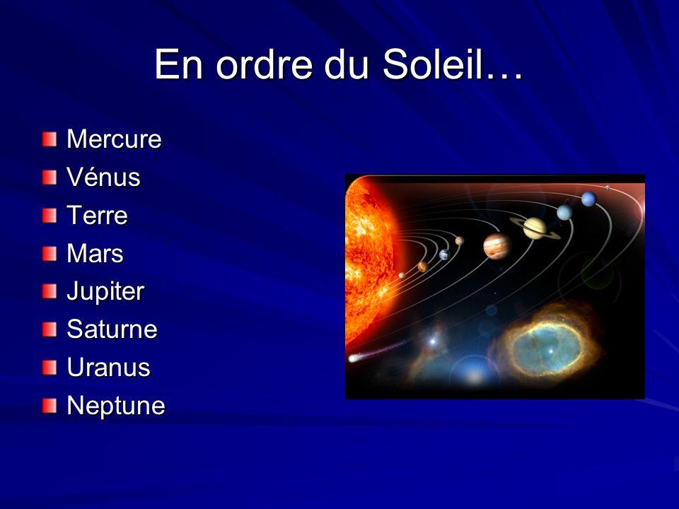 En ordre du Soleil… MercureVénusTerreMarsJupiterSaturneUranusNeptune