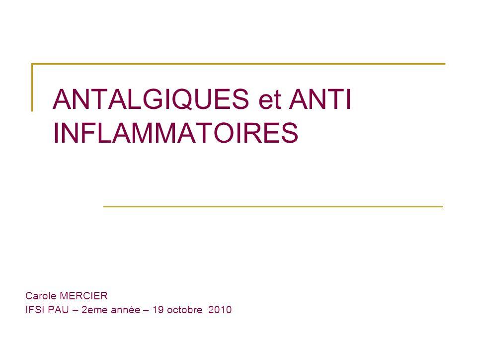 ANTALGIQUES et ANTI INFLAMMATOIRES Carole MERCIER IFSI PAU – 2eme année – 19 octobre 2010