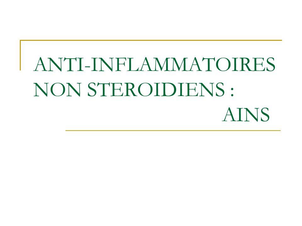 ANTI-INFLAMMATOIRES NON STEROIDIENS : AINS