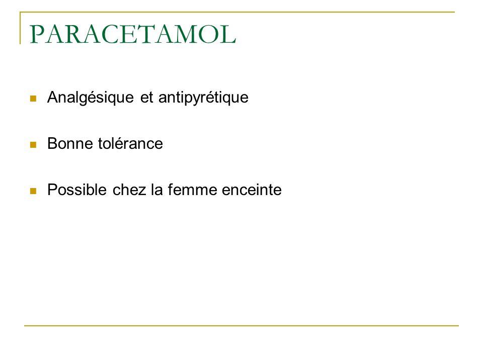 PARACETAMOL Nécrose hépatique si surdosage, plus de 8-10 g chez ladulte et 150 mg/kg chez lenfant Symptômes : troubles digestifs en 24 heures : anorexie, vomissement, douleur épigastrique, somnolence puis défaillance hépatique en 48 heures Traitement de lintoxication : lavage gastrique dans les 4 premieres heures administration de N acetylcystéine = FLUIMUCIL® dans les 10 heures sinon cytolyse hépatique décès en labsence de greffe