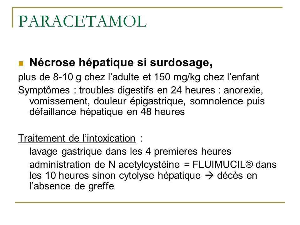 PARACETAMOL Nécrose hépatique si surdosage, plus de 8-10 g chez ladulte et 150 mg/kg chez lenfant Symptômes : troubles digestifs en 24 heures : anorex
