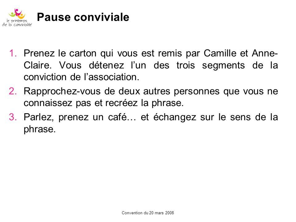 Convention du 20 mars 2008 Pause conviviale 1.Prenez le carton qui vous est remis par Camille et Anne- Claire. Vous détenez lun des trois segments de