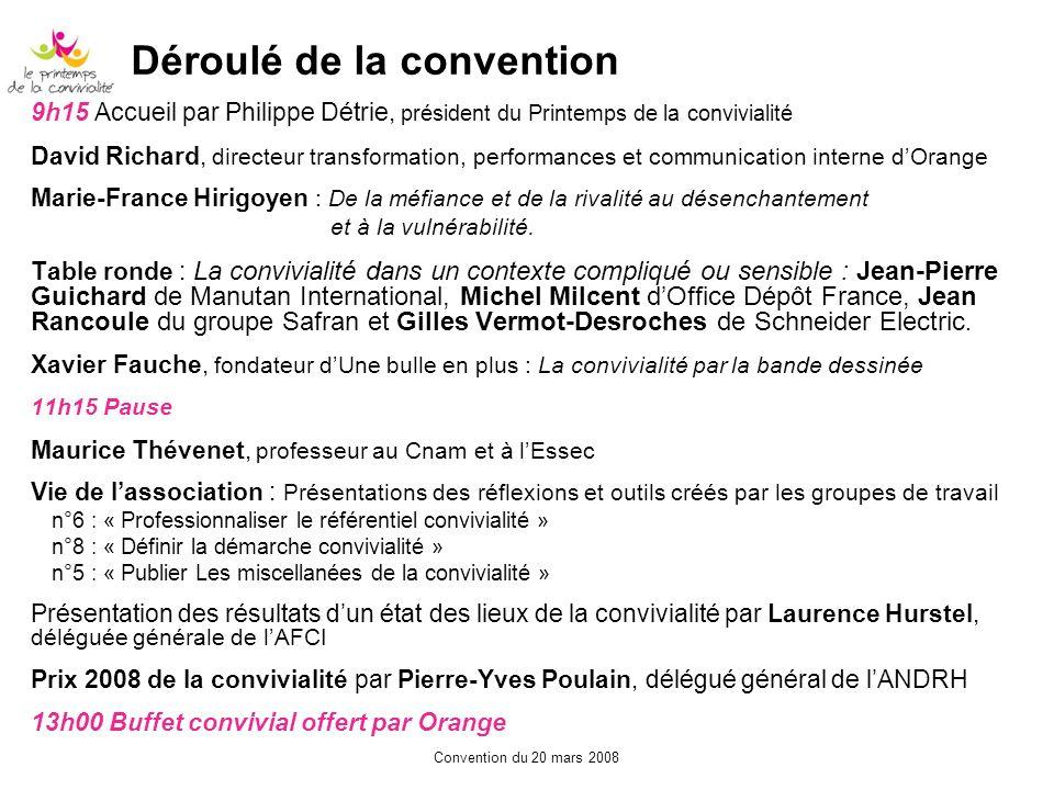 Convention du 20 mars 2008 Déroulé de la convention 9h15 Accueil par Philippe Détrie, président du Printemps de la convivialité David Richard, directe