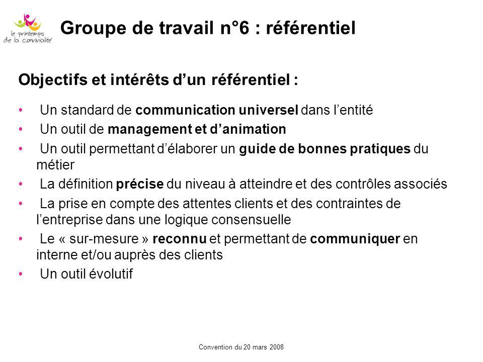 Convention du 20 mars 2008 Objectifs et intérêts dun référentiel : Un standard de communication universel dans lentité Un outil de management et danim