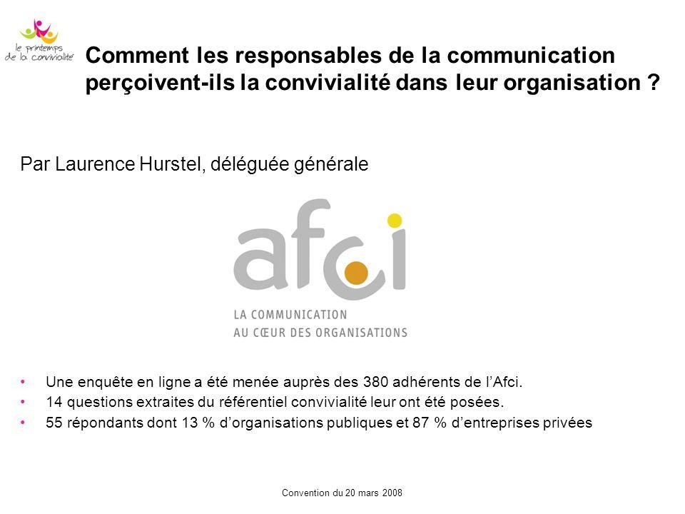 Convention du 20 mars 2008 Comment les responsables de la communication perçoivent-ils la convivialité dans leur organisation ? Par Laurence Hurstel,