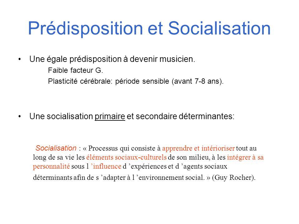 Prédisposition et Socialisation Une égale prédisposition à devenir musicien. Faible facteur G. Plasticité cérébrale: période sensible (avant 7-8 ans).