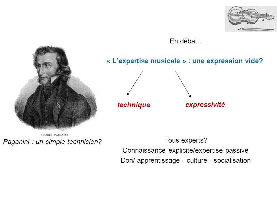 En débat : « Lexpertise musicale » : une expression vide? Tous experts? Connaissance explicite/expertise passive Don/ apprentissage - culture - social