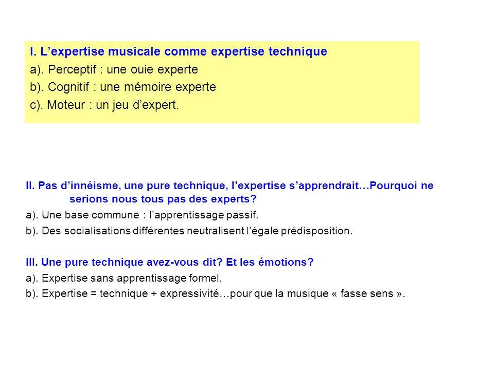 Musical expertise (John Sloboda) Loreille musicale experte peut-elle se développer par lécoute passive de la musique (Emmanuel Bigand, 2004) Les traces dun son (L.