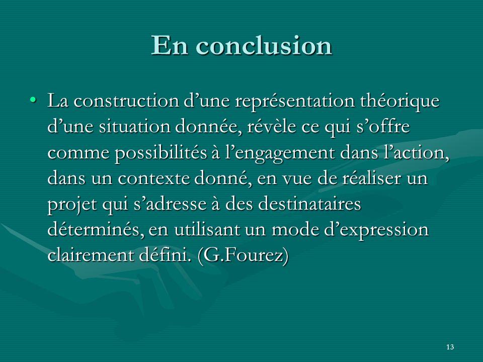 13 En conclusion La construction dune représentation théorique dune situation donnée, révèle ce qui soffre comme possibilités à lengagement dans lacti
