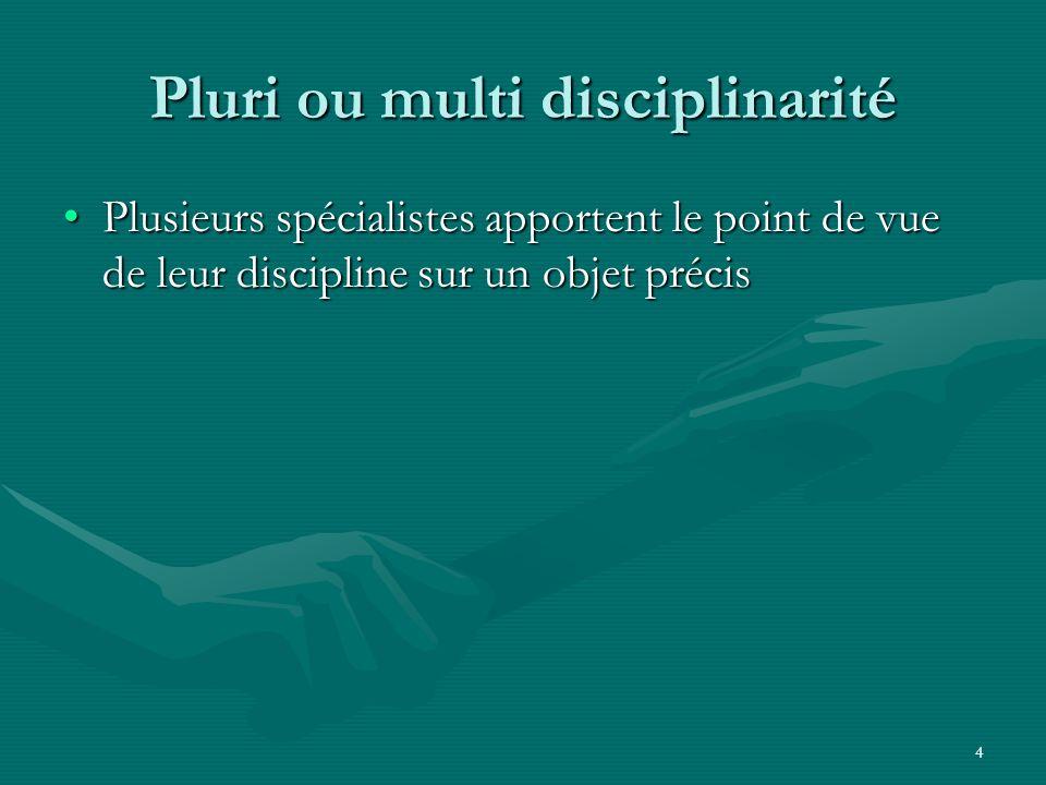 4 Pluri ou multi disciplinarité Plusieurs spécialistes apportent le point de vue de leur discipline sur un objet précisPlusieurs spécialistes apporten