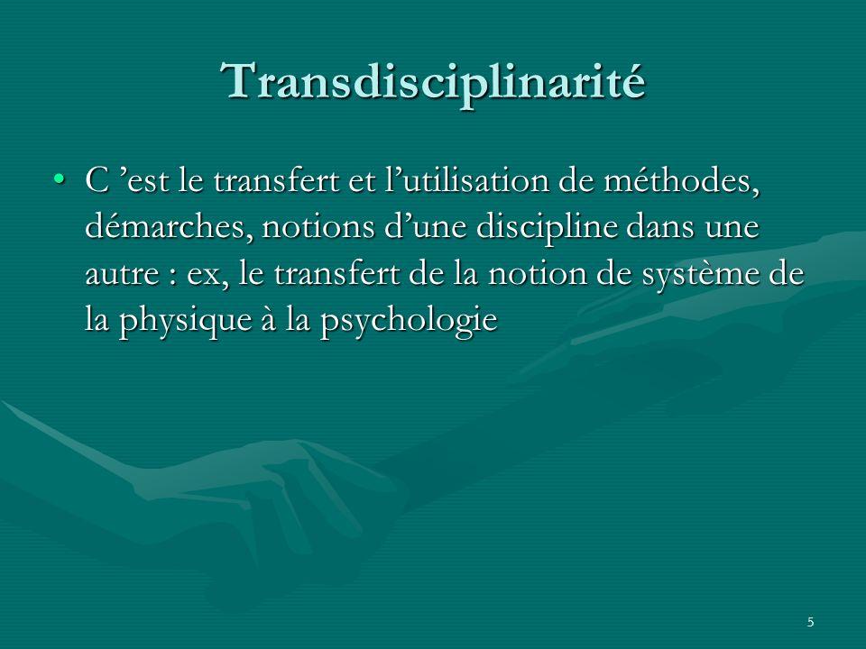 5 Transdisciplinarité C est le transfert et lutilisation de méthodes, démarches, notions dune discipline dans une autre : ex, le transfert de la notion de système de la physique à la psychologieC est le transfert et lutilisation de méthodes, démarches, notions dune discipline dans une autre : ex, le transfert de la notion de système de la physique à la psychologie