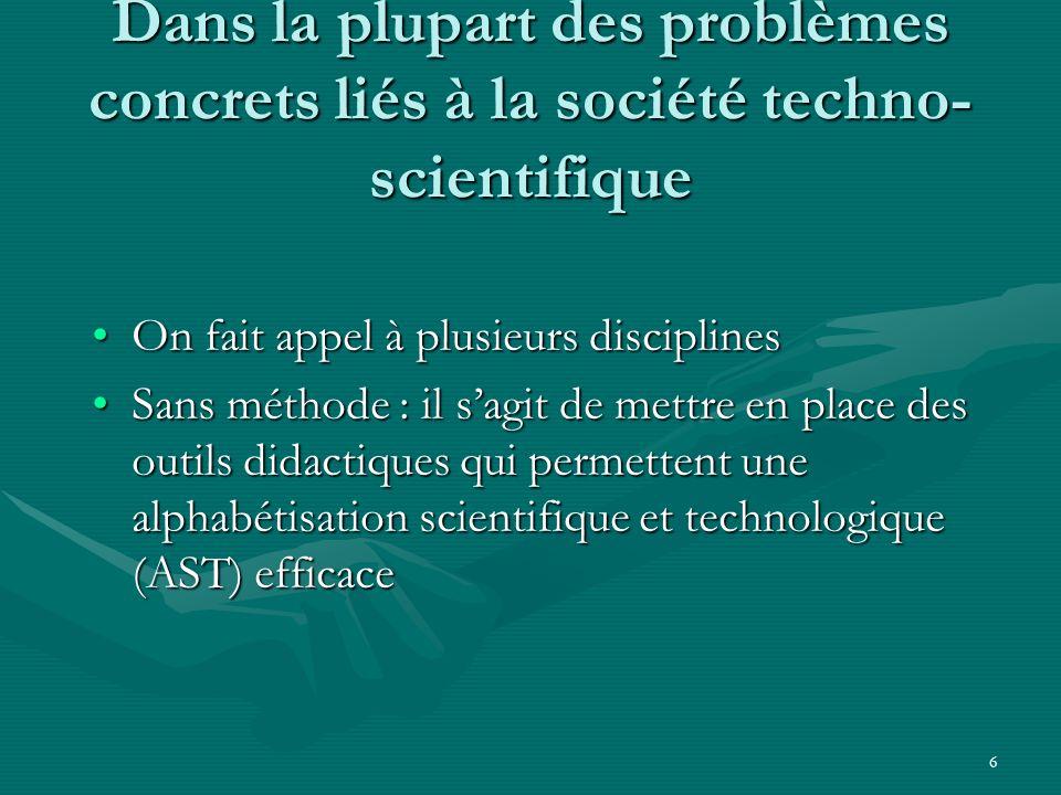 6 Dans la plupart des problèmes concrets liés à la société techno- scientifique On fait appel à plusieurs disciplinesOn fait appel à plusieurs discipl