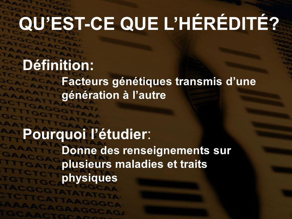 QUEST-CE QUE LHÉRÉDITÉ? Définition: Pourquoi létudier: Facteurs génétiques transmis dune génération à lautre Donne des renseignements sur plusieurs ma