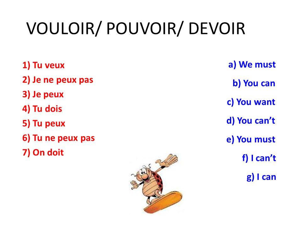 POUVOIR (to be able to) Je PEUX Tu PEUX Il/Elle/On PEUT Nous POUVONS Vous POUVEZ Ils PEUVENT DEVOIR (to have to) Je DOIS Tu DOIS Il/Elle/On DOIT Nous DEVONS Vous DEVEZ Ils DOIVENT These two verbs, like VOULOIR, are often followed by in INFINITIVE (manger, aller, étudier…)