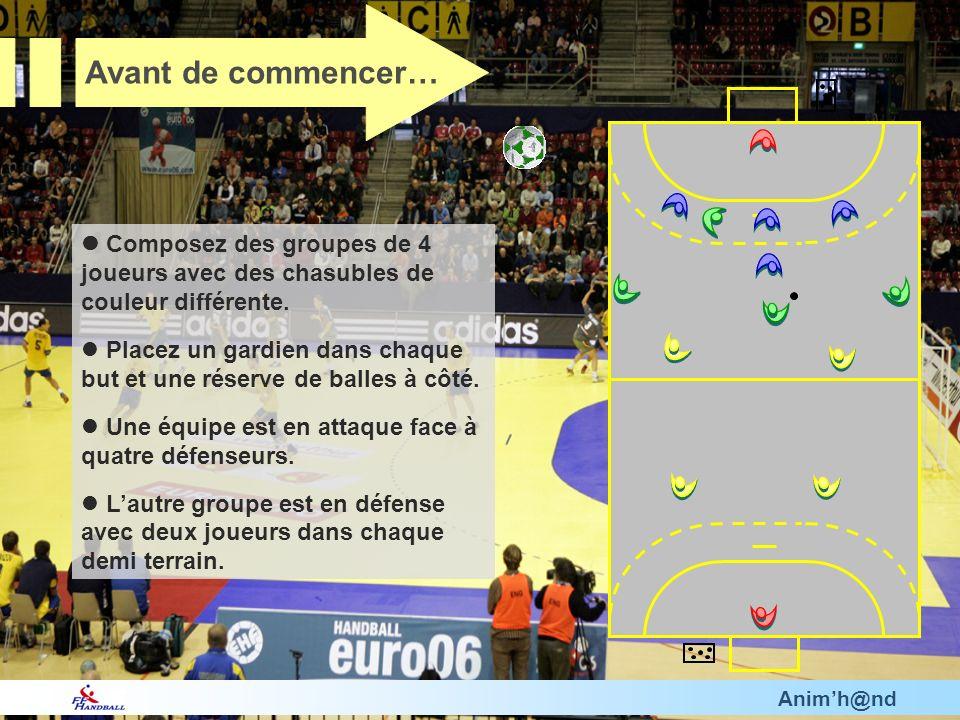 Animh@nd Composez des groupes de 4 joueurs avec des chasubles de couleur différente. Placez un gardien dans chaque but et une réserve de balles à côté