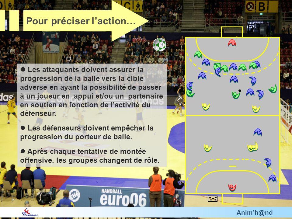 Animh@nd Les attaquants doivent assurer la progression de la balle vers la cible adverse en ayant la possibilité de passer à un joueur en appui et/ou un partenaire en soutien en fonction de lactivité du défenseur.