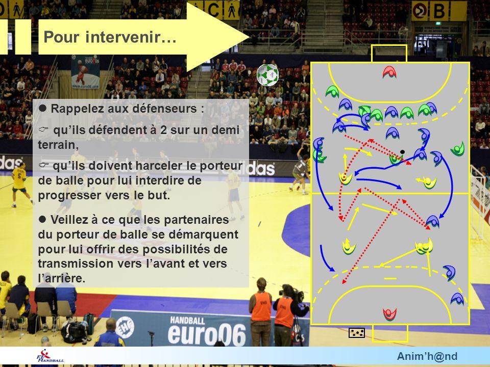 Animh@nd Rappelez aux défenseurs : quils défendent à 2 sur un demi terrain, quils doivent harceler le porteur de balle pour lui interdire de progresser vers le but.