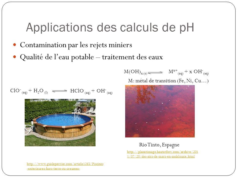 Applications des calculs de pH Contamination par les rejets miniers Qualité de leau potable – traitement des eaux M(OH) x (s) M x+ (aq) + x OH - (aq)