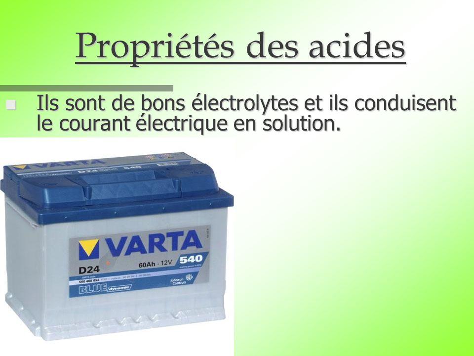 Propriétés des acides n Ils sont de bons électrolytes et ils conduisent le courant électrique en solution.