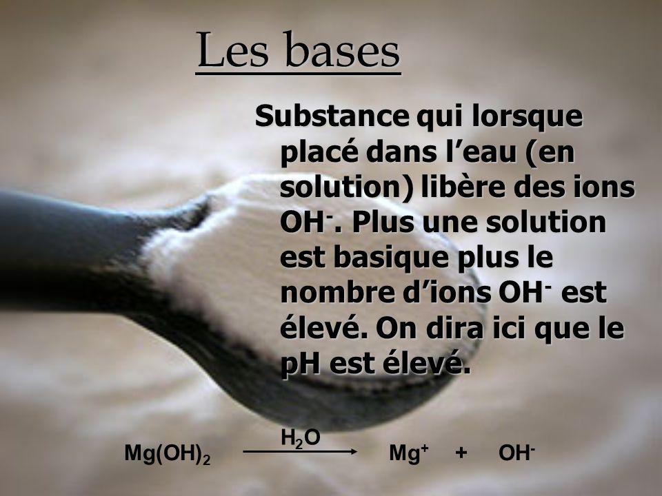 Les bases Substance qui lorsque placé dans leau (en solution) libère des ions OH -. Plus une solution est basique plus le nombre dions OH - est élevé.