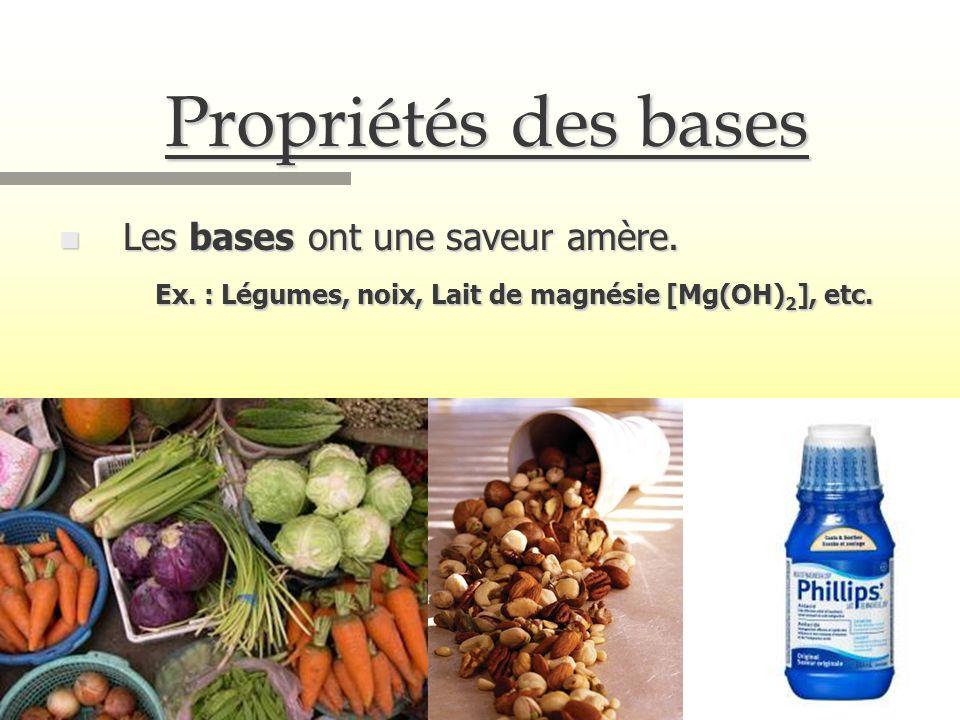 Propriétés des bases n Les bases ont une saveur amère. Ex. : Légumes, noix, Lait de magnésie [Mg(OH) 2 ], etc.