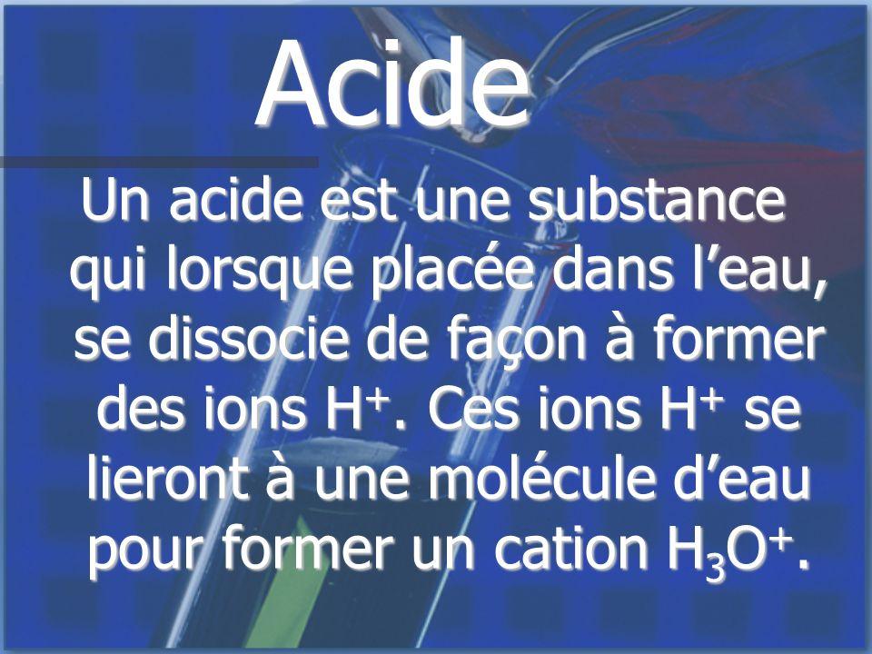 Acide Un acide est une substance qui lorsque placée dans leau, se dissocie de façon à former des ions H +. Ces ions H + se lieront à une molécule deau