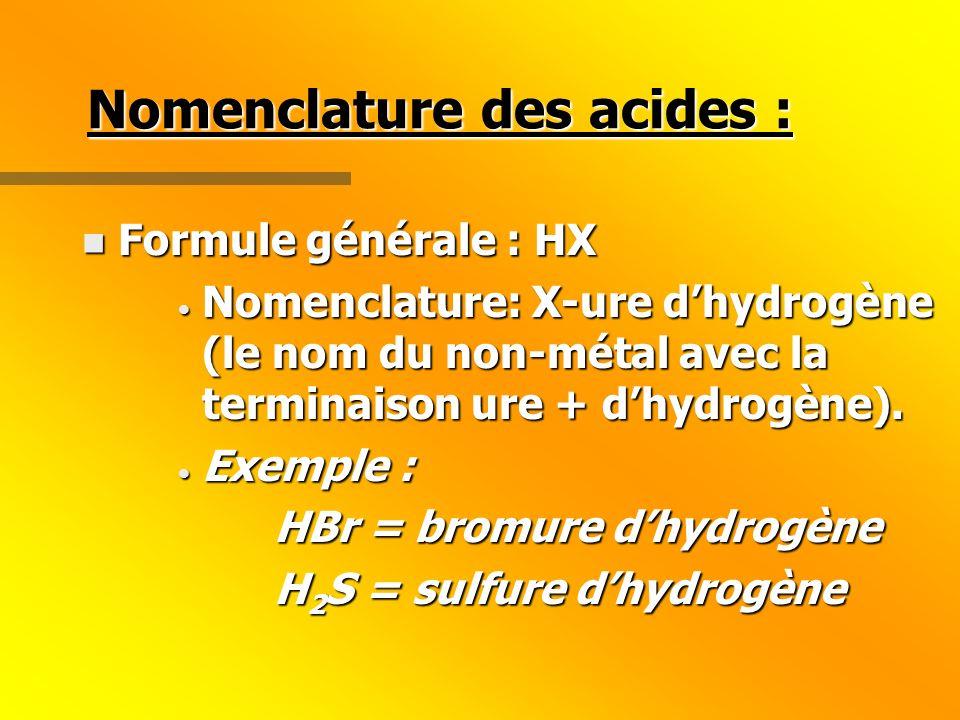 Nomenclature des acides : n Formule générale : HX Nomenclature: X-ure dhydrogène (le nom du non-métal avec la terminaison ure + dhydrogène).