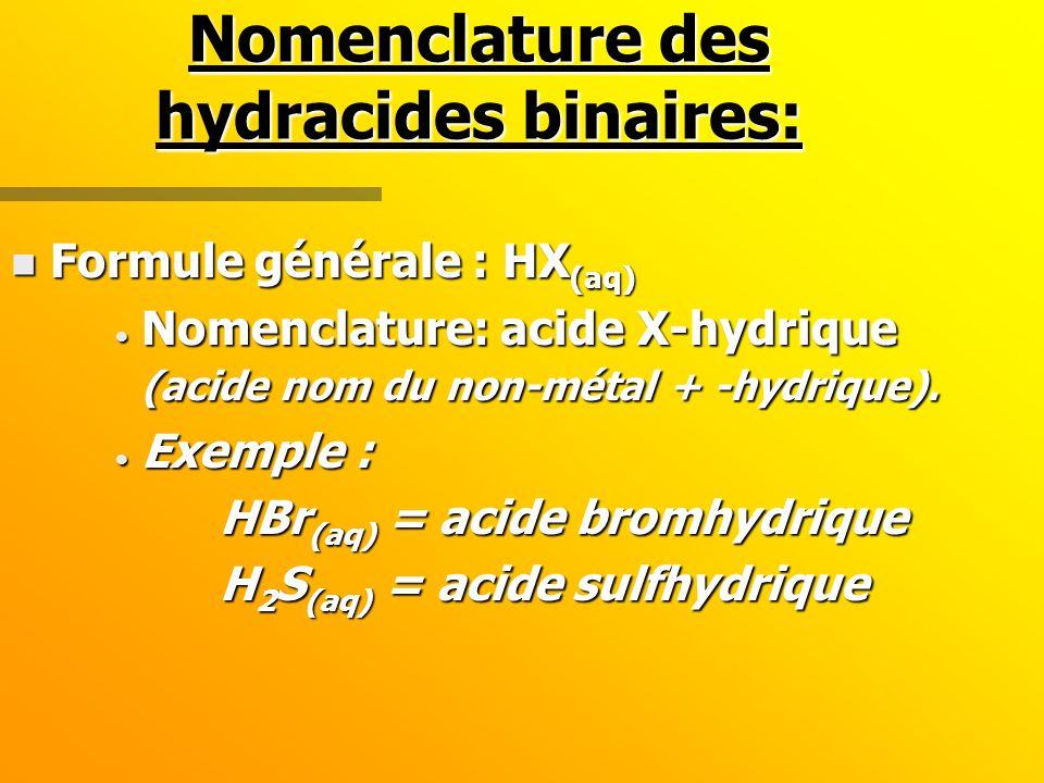 Nomenclature des hydracides binaires: n Formule générale : HX (aq) Nomenclature: acide X-hydrique (acide nom du non-métal + -hydrique).