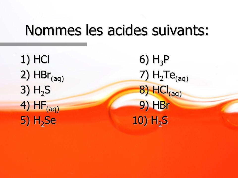 Nommes les acides suivants: 1) HCl6) H 3 P 2) HBr (aq) 7) H 2 Te (aq) 3) H 2 S8) HCl (aq) 4) HF (aq) 9) HBr 5) H 2 Se 10) H 2 S