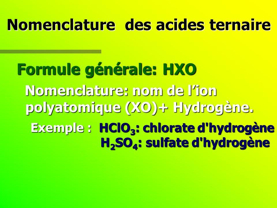 Nomenclature des acides ternaire Formule générale: HXO Nomenclature: nom de lion polyatomique (XO)+ Hydrogène. Nomenclature: nom de lion polyatomique