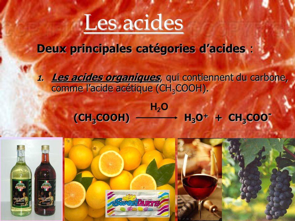 Les acides Deux principales catégories dacides : 1. Les acides organiques, qui contiennent du carbone, comme lacide acétique (CH 3 COOH). (CH 3 COOH)H
