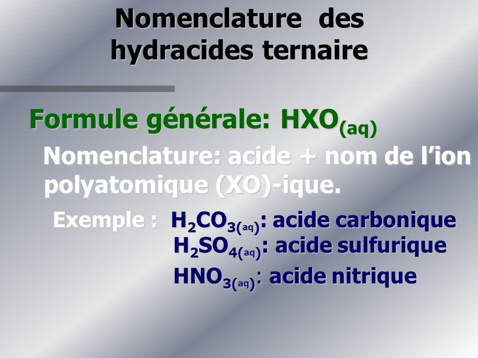Nomenclature des hydracides ternaire Formule générale: HXO (aq) Nomenclature: acide + nom de lion polyatomique (XO)-ique.
