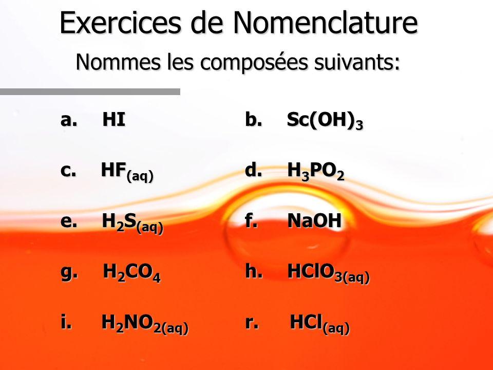 Exercices de Nomenclature Nommes les composées suivants: a. HI b. Sc(OH) 3 c. HF (aq) d. H 3 PO 2 e. H 2 S (aq ) f. NaOH g. H 2 CO 4 h. HClO 3(aq) i.