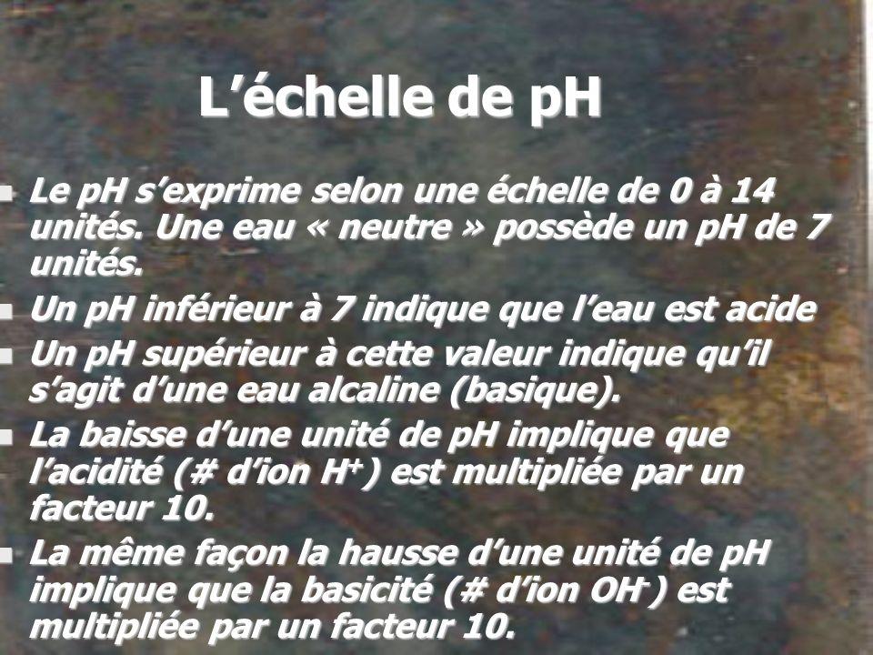 Léchelle de pH n Le pH sexprime selon une échelle de 0 à 14 unités. Une eau « neutre » possède un pH de 7 unités. n Un pH inférieur à 7 indique que le
