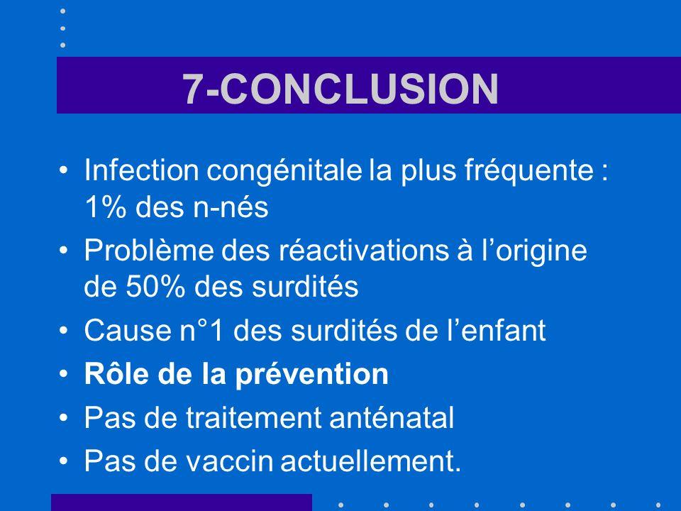 7-CONCLUSION Infection congénitale la plus fréquente : 1% des n-nés Problème des réactivations à lorigine de 50% des surdités Cause n°1 des surdités d
