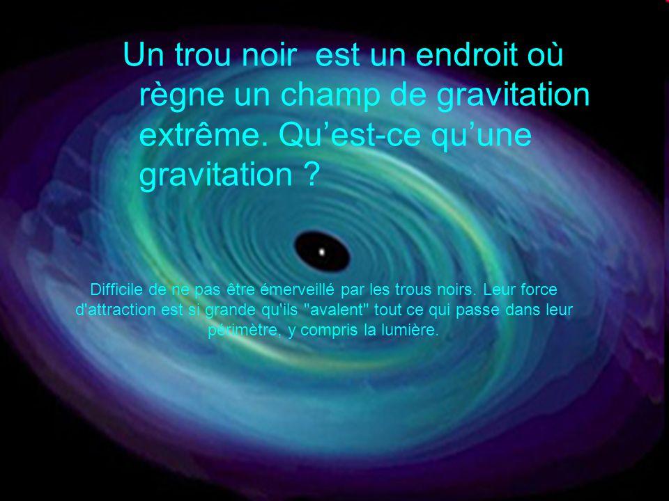Un trou noir est un endroit où règne un champ de gravitation extrême. Quest-ce quune gravitation ? Difficile de ne pas être émerveillé par les trous n
