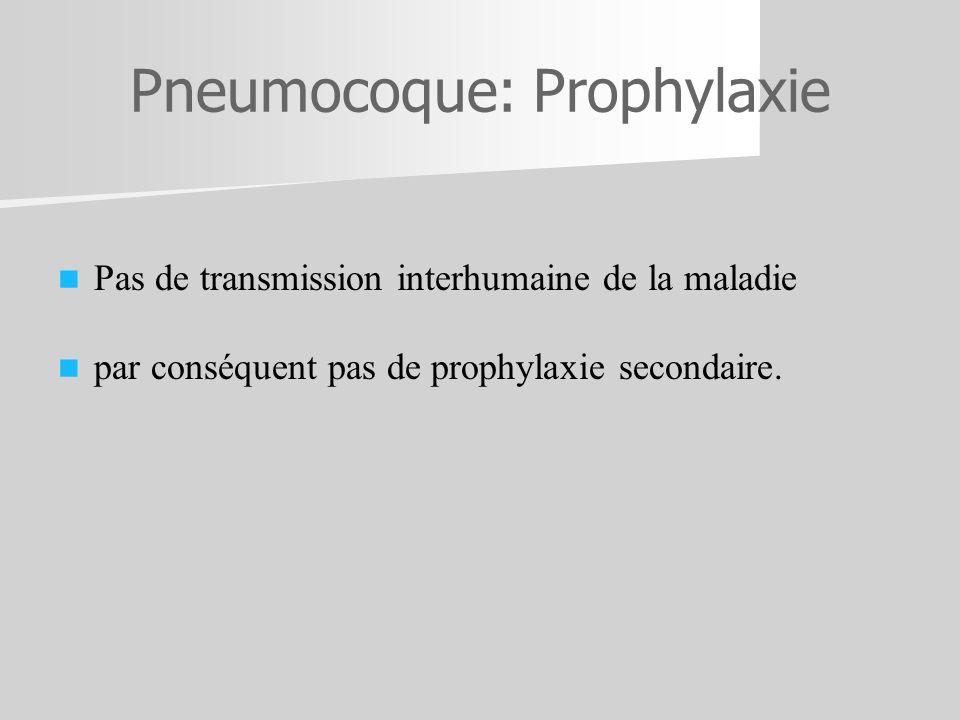 Pneumocoque: Prophylaxie Pas de transmission interhumaine de la maladie par conséquent pas de prophylaxie secondaire.