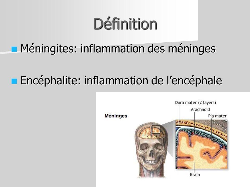 Définition Méningites: inflammation des méninges Méningites: inflammation des méninges Encéphalite: inflammation de lencéphale Encéphalite: inflammati