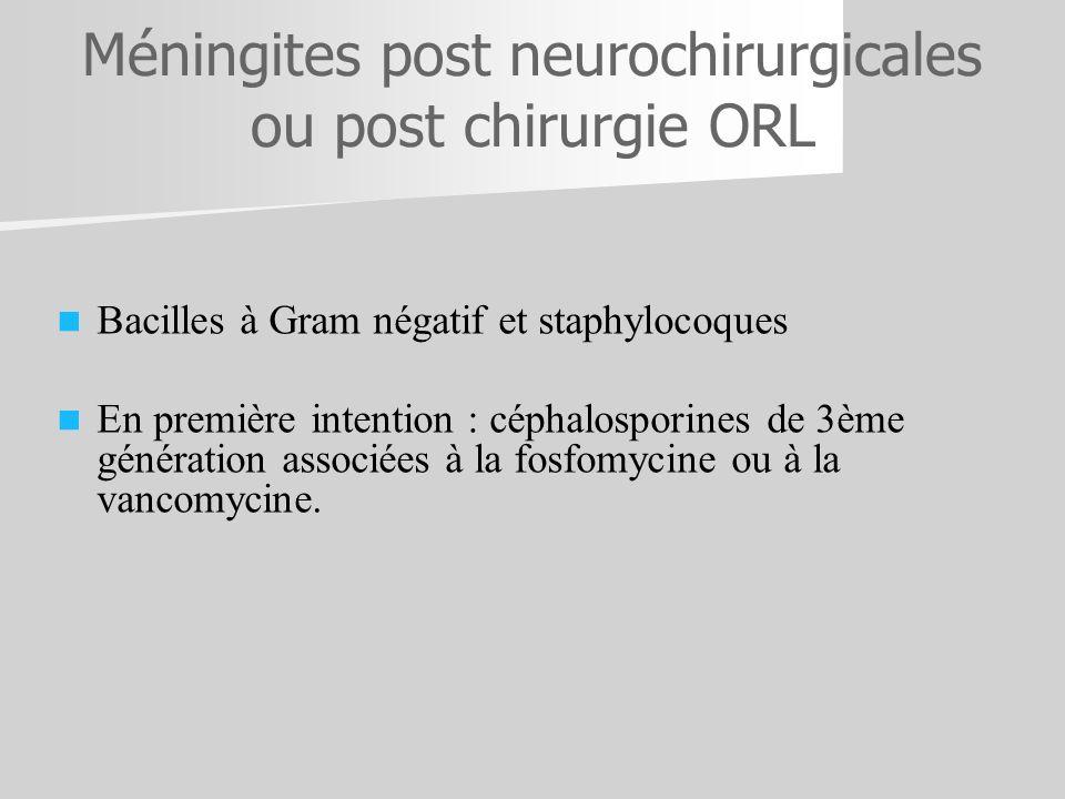 Méningites post neurochirurgicales ou post chirurgie ORL Bacilles à Gram négatif et staphylocoques En première intention : céphalosporines de 3ème gén