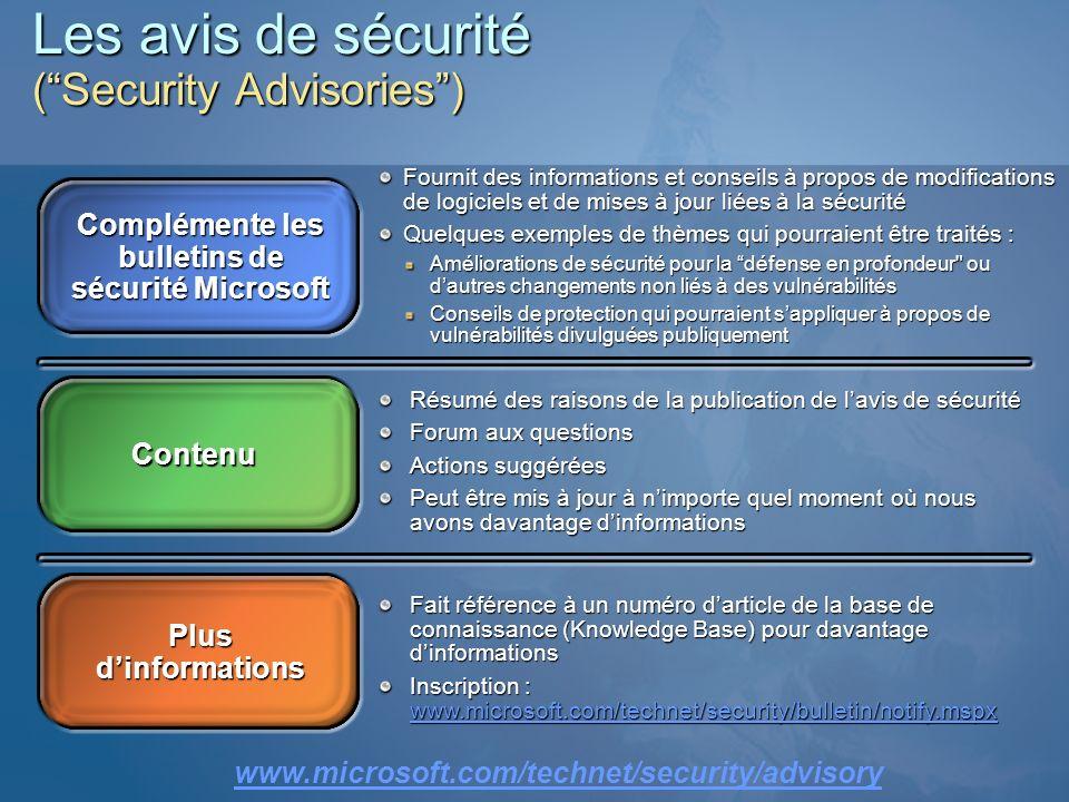 Les avis de sécurité (Security Advisories) Complémente les bulletins de sécurité Microsoft Contenu Plus dinformations Fournit des informations et cons