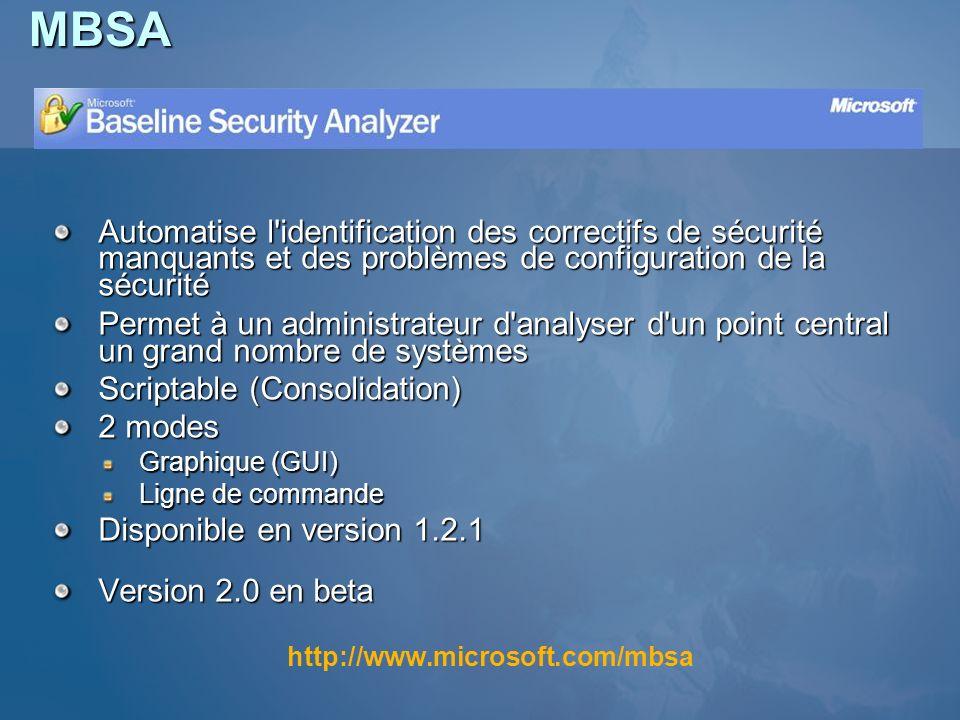 MBSA Automatise l'identification des correctifs de sécurité manquants et des problèmes de configuration de la sécurité Permet à un administrateur d'an