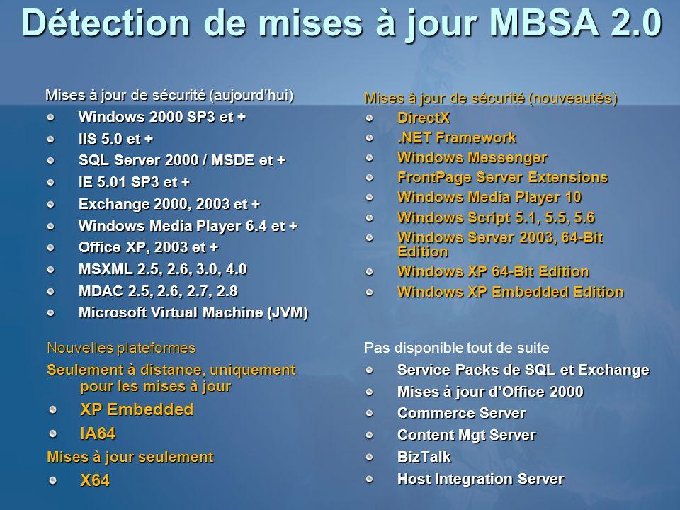 Détection de mises à jour MBSA 2.0 Mises à jour de sécurité (aujourdhui) Windows 2000 SP3 et + IIS 5.0 et + SQL Server 2000 / MSDE et + IE 5.01 SP3 et