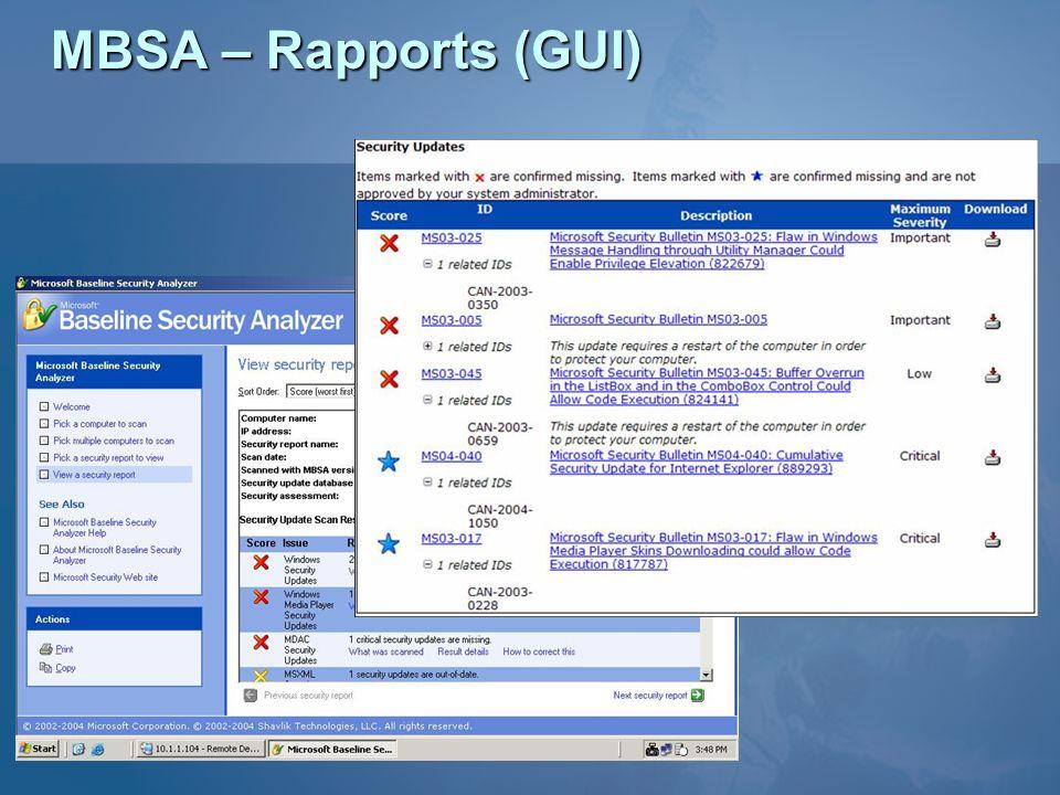 MBSA – Rapports (GUI)