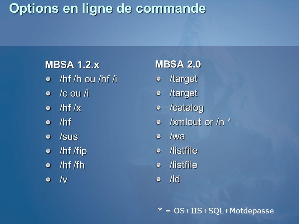 Options en ligne de commande MBSA 1.2.x /hf /h ou /hf /i /c ou /i /hf /x /hf/sus /hf /fip /hf /fh /v MBSA 2.0 /target/target/catalog /xmlout or /n * /