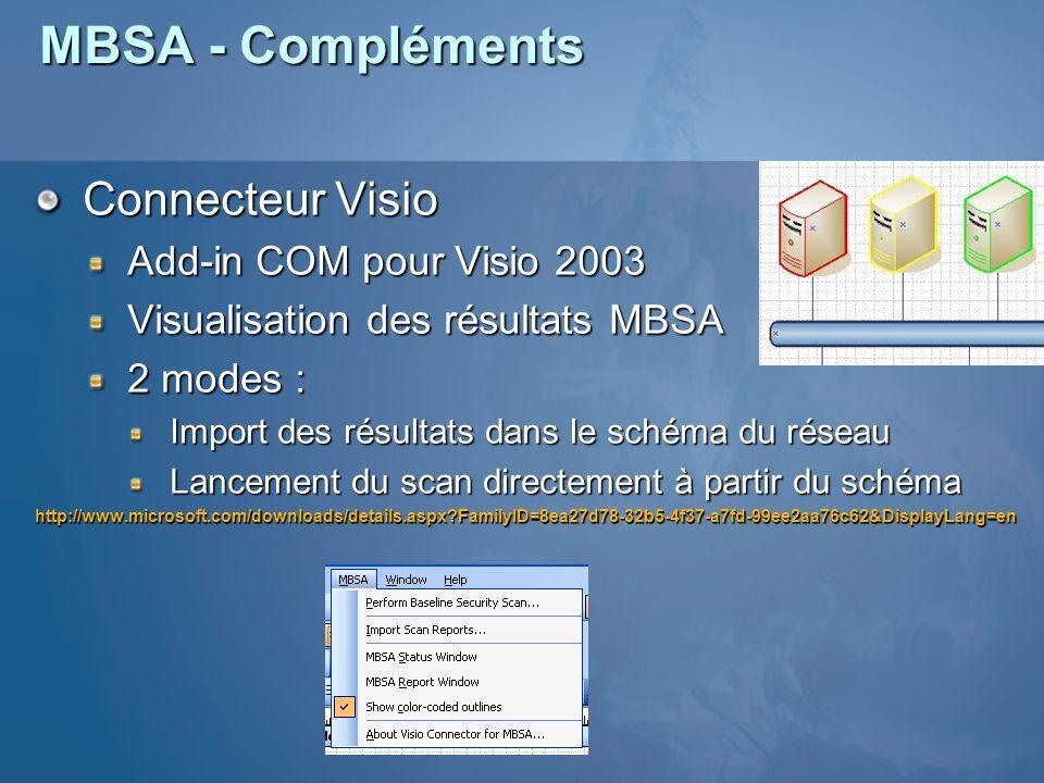 Add-in COM pour Visio 2003 Visualisation des résultats MBSA 2 modes : Import des résultats dans le schéma du réseau Lancement du scan directement à pa