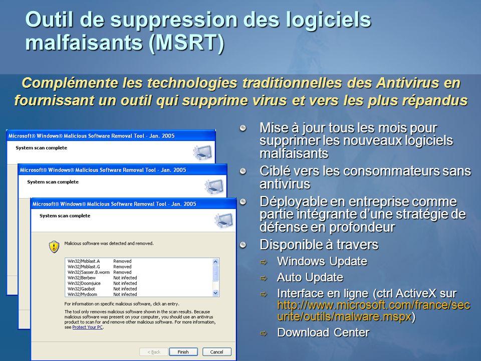 Outil de suppression des logiciels malfaisants (MSRT) Mise à jour tous les mois pour supprimer les nouveaux logiciels malfaisants Ciblé vers les conso