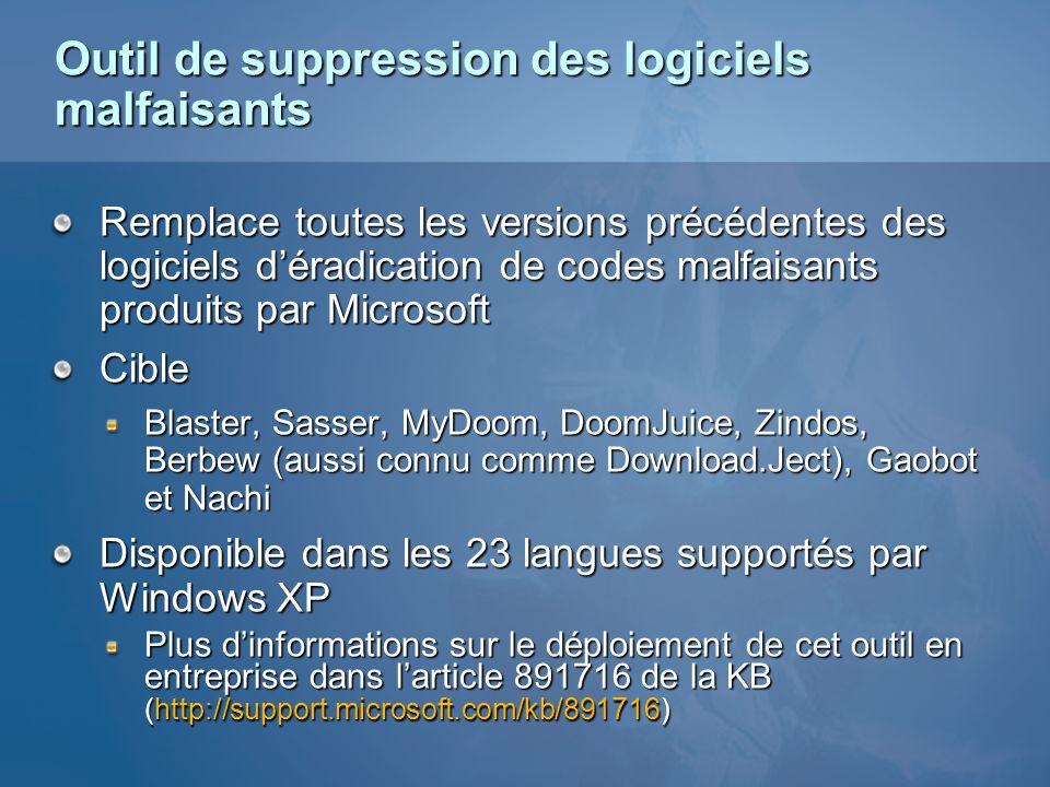 Outil de suppression des logiciels malfaisants Remplace toutes les versions précédentes des logiciels déradication de codes malfaisants produits par M