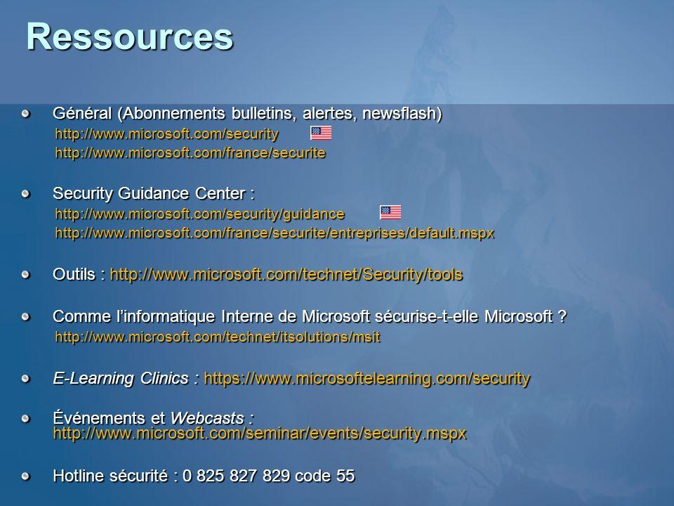 Ressources Général (Abonnements bulletins, alertes, newsflash) http://www.microsoft.com/securityhttp://www.microsoft.com/france/securite Security Guid