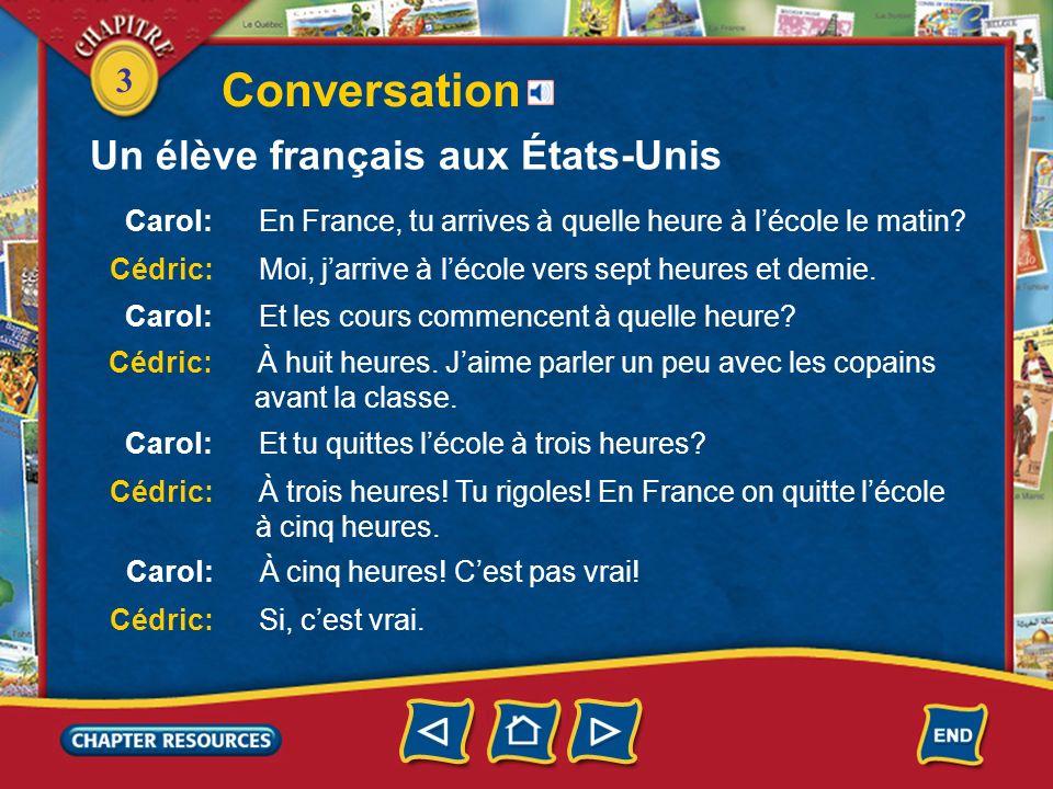 3 Conversation Un élève français aux États-Unis
