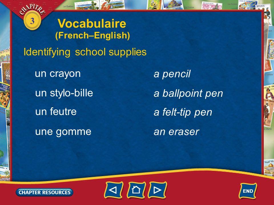 3 Identifying school supplies What is it? Quest-ce que cest? school supplies a notebook a notepad des fournitures (f. pl.) scolaires un cahier un bloc
